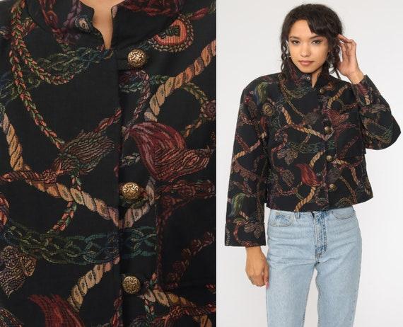 90s TAPESTRY Jacket Rope Print Blazer Bohemian Vintage 1990s Women Boho Woven Jacket Retro Medium