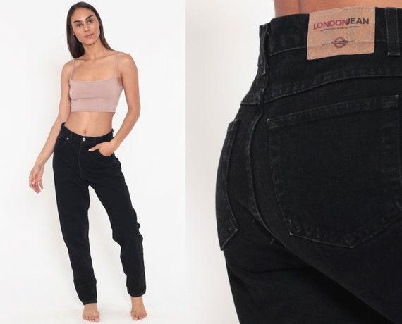 Black Denim Jeans LONDON JEAN Mom Jeans 90s Relaxed Baggy Boyfriend High Waisted Jeans Denim Pants Mom Jeans Black 1990s Vintage Medium 8 29