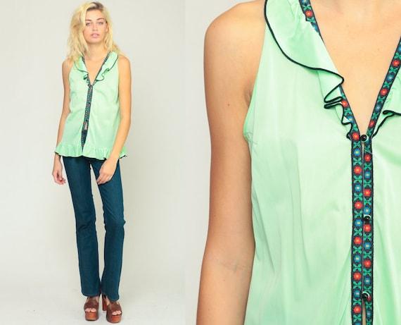 70s Tank Top Summer Top Boho Shirt Retro Top Lime Green Neon Shirt Ruffle Top Lingerie Top Sleeveless Bohemian 1970s Vintage Small