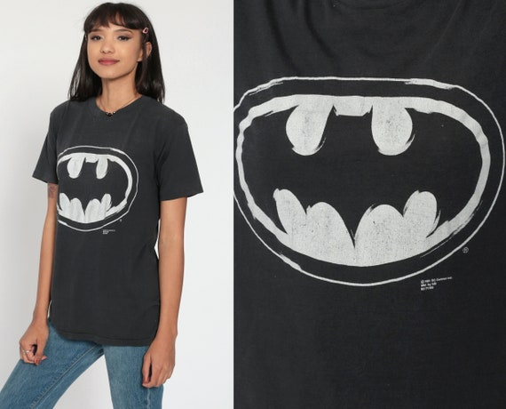 90s Batman Shirt DC Comics 1991 Superhero T Shirt Graphic Tshirt Cartoon Top Retro Tee 1990s T Shirt Black Small Medium