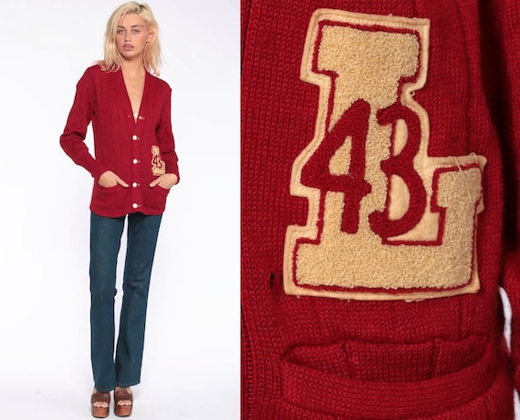 1943 Varsity Sweater WOOL Cardigan 43 Letterman Cardigan 1940s Button Up Slouchy 40s Hipster Red Vintage Retro Small