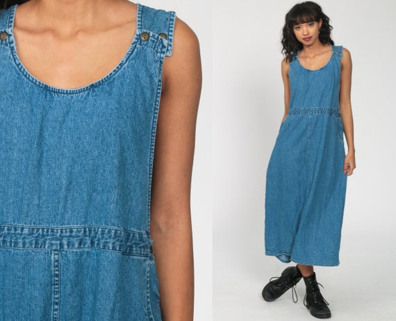 Denim Dress Jean Jumper Midi 90s Grunge Vintage Overall Dress Blue Pinafore Low Armhole Sleeveless 1990s Low Waist Medium Large xl