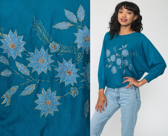 Floral Sweater 80s Blue BEADED Sweater Dolman Sleeve Sweater Graphic Print Knit Slouchy Pullover Sweater Vintage Jumper Small Medium