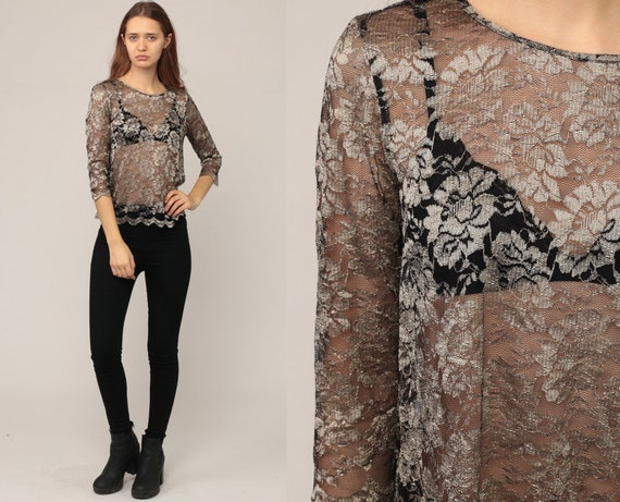 Sheer Lace Top Sheer Blouse Metallic Shirt 80s Boho Hipster Long Sleeve Bohemian 1980s Floral See through Romantic Party Small Medium