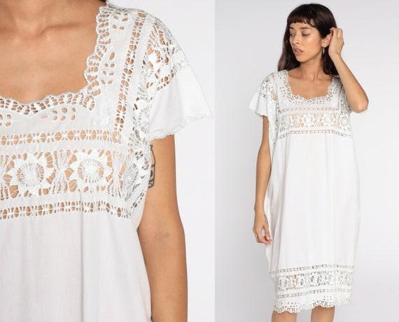Sheer Cutwork Dress White Mini Dress Tunic Embroidery Boho Cut Out Hippie Mesh 80s Cutout Floral Bohemian Vintage Medium Large xl
