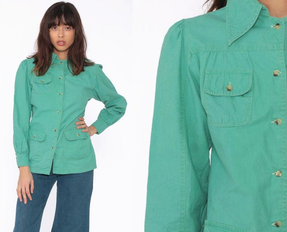70s Cargo Shirt Puff Sleeve Blouse 70s Shirt Green Top Button Up Blouse Hippie Top Boho 1970s Vintage Chest Pocket Long Sleeve Small