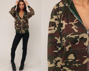 Hooded Sweatshirt 80s Camo Hoodie Sweatshirt Camouflage Army Sweatshirt Hood Zip Up 90s Olive Green Slouchy Military Vintage Small Medium
