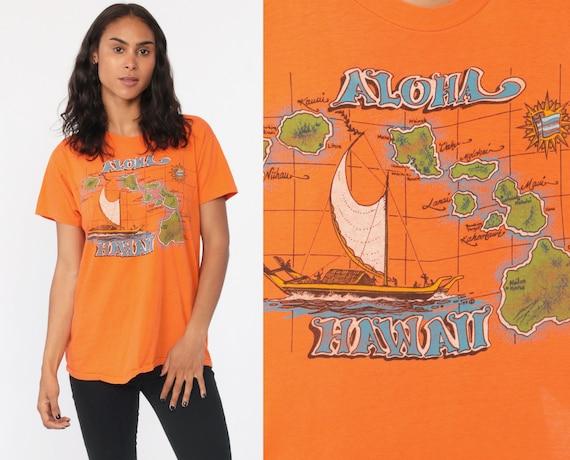 Hawaii Shirt ALOHA Retro Tshirt Graphic 80s Vintage Hawaiian T Shirt Paper thin Burnout Shirt Orange Map Print Small Medium