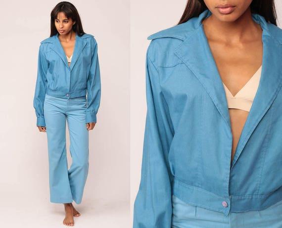 Blue Jacket 70s Jacket Retro Plain OPEN FRONT Normcore Hipster Collar Vintage 1970s Retro Seventies Preppy Medium