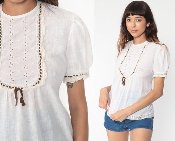 Puff Sleeve Peasant Shirt 70s Eyelet Lace Boho Top Gauze Blouse Cottagecore Bohemian Hippie 1970s Vintage Shirt Boho White Medium
