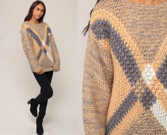 90s Sweater Striped X Pullover Sweater Open Weave Geometric Grunge Oversize Slouchy Knit Grey Tan Retro Vintage Hipster Medium