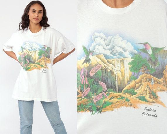 Salida Colorado Shirt 90s T Shirt Hummingbird Retro Tee Mountains Print Bird Retro TShirt Vintage Graphic Print 1990s Tourist Extra Large XL