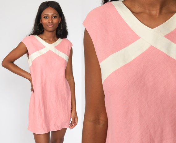 80s Mini Dress Shift Baby Pink Linen Dress Striped Dress Cap Sleeve Dress Minidress White Trim Dress Vintage 1980s Medium
