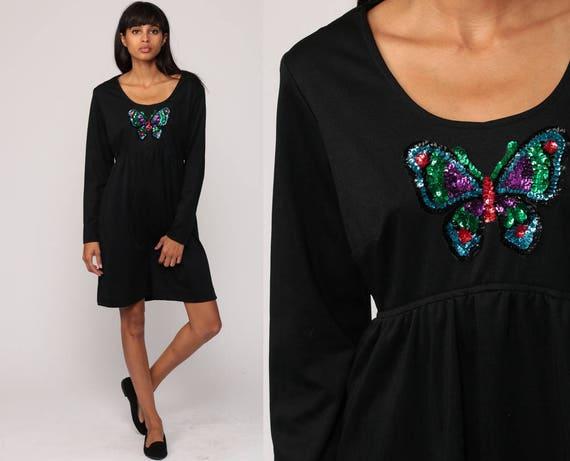 Babydoll Dress 70s Mod Mini SEQUIN BUTTERFLY Print Boho Empire Waist 1970s Vintage Black Bohemian Long Sleeve Minidress Medium