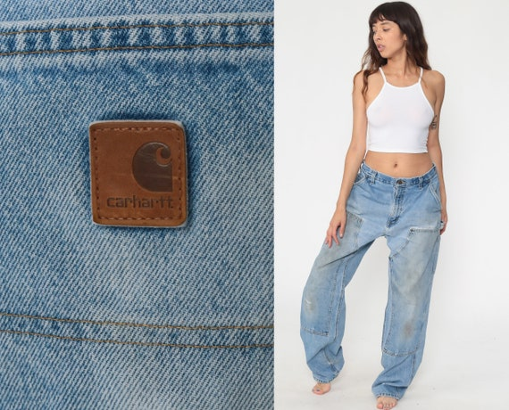 90s Carhartt Jeans 34 Ripped Workwear Blue Boyfriend Fit Jeans Work Pants 1990s Distressed Baggy Denim Pants Vintage Streetwear Medium
