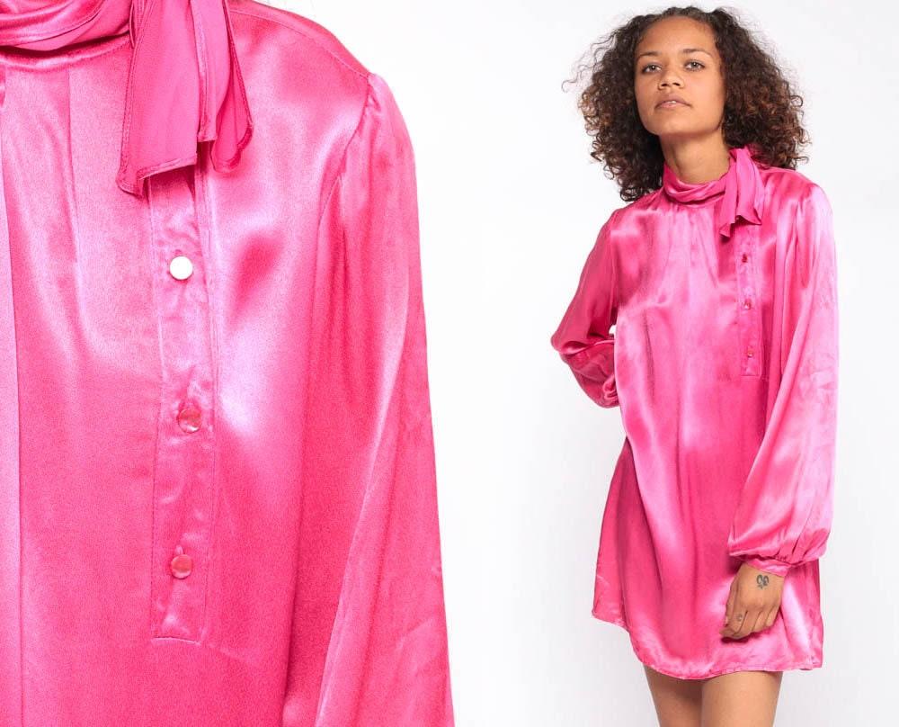 c8a975387a2 Hot Pink Ascot Shirt Secretary Blouse 70s Satin Button Up Shirt ...