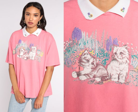 Vintage Cat Shirt Graphic Tshirt 90s Collared Floral Garden Shirt Graphic T Shirt 80s Screen Print Tee Animal Pink Extra Large xl