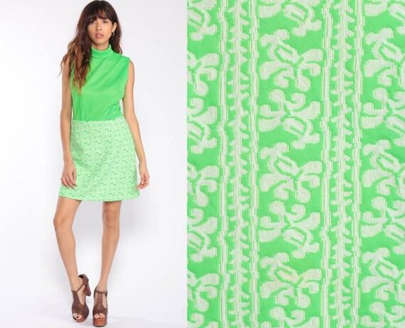 70s Mini Dress Mod Dress Lime Green Retro 60s Shift Vintage Sleeveless Gogo Hipster Twiggy Abstract Stripe High Waist Minidress Medium