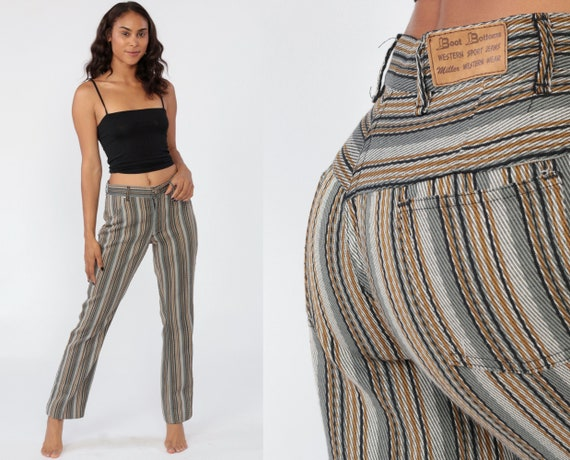 70s Bootcut Pants Striped Trousers Mid Rise Hippie Trousers Stripes Boho Festival Bohemian Seventies Western Boot Cut Bell Bottom Small 6