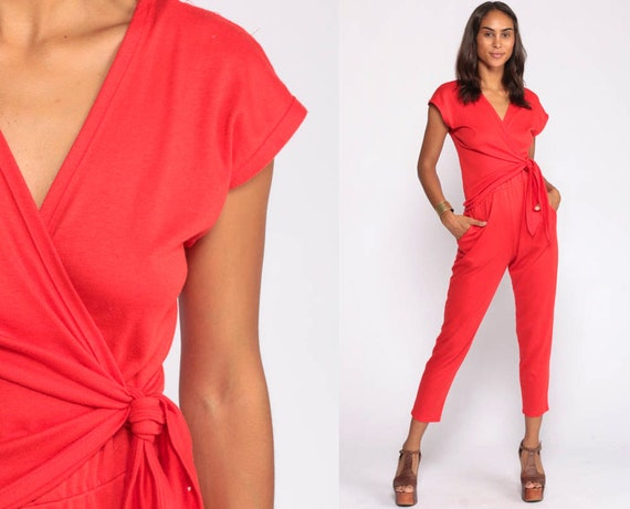 80s Jumpsuit Red Onesie Tapered Pant Wrap Deep V Neck High Waisted 1980s Vintage Pantsuit Cap Sleeve Small Medium