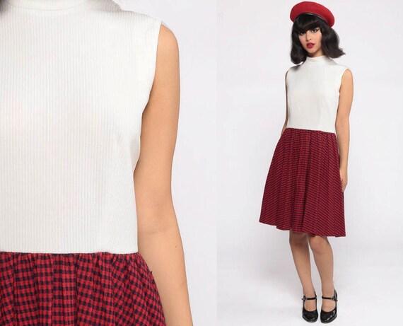 70s Mini Dress Plaid Mod Red Gingham Dress Funnel Neck Checkered Print 60s Sleeveless 1970s High Waisted Vintage Retro MiniDress Small