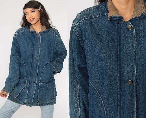 80s Denim Jacket LEATHER COLLAR Jean Jacket Plaid Lined Trucker Grunge Oversized 1980s Button Up Jacket Vintage Blue Retro Large