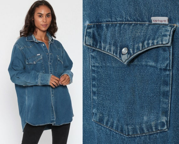 Carhartt Westen Shirt 90s Jean Workwear Denim Pearl Snap Blue Oversized Work Wear Grunge Long Sleeve Vintage 90s Workwear Extra Large XL