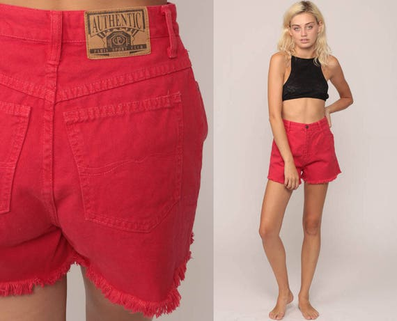Red Denim Shorts High Waisted Cutoffs Red Cut Offs 90s Shorts Grunge Frayed Jean Vintage Jean Hippie Shorts High Rise Small 27