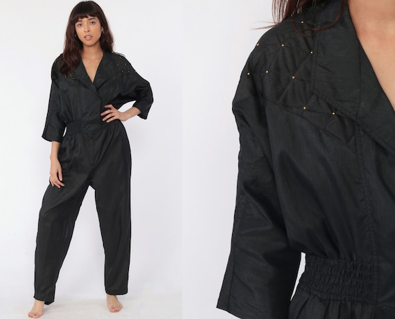80s Jumpsuit Black Studded Warmup Suit Tapered Pants Warm Up Pantsuit Vintage Long Sleeve Romper Pants Track Suit Large