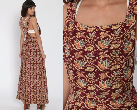 Floral Overall Dress 80s Maxi Grunge Pinafore Bib