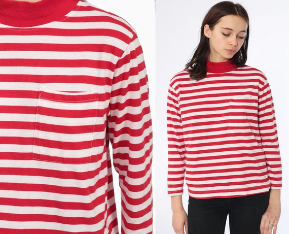 80s Red Turtleneck STRIPED Shirt 1980s Top Long Sleeve Red 1990s Funnel Neck Retro Grunge Turtle Neck Top Vintage White Small