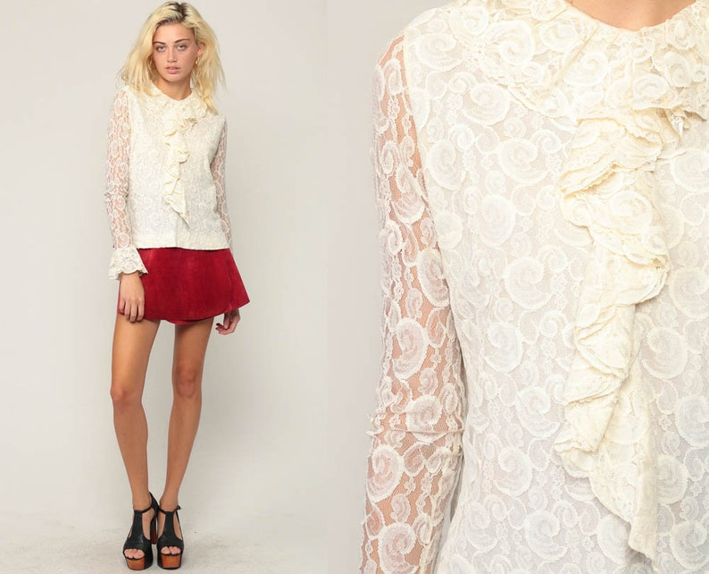 fa892dac73188 Lace Top Sheer Blouse 70s Boho Off White Ruffle Shirt Tuxedo