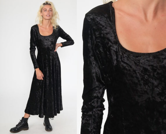 Black Velvet Dress 90s Maxi Dress Goth Grunge Party Dress Tight Bodycon Long Sleeve 1990s Gothic Vintage Ankle Length Medium