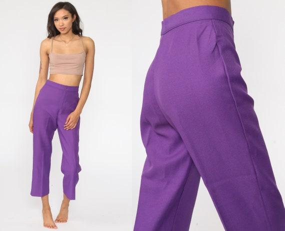 80/'s purple velvet high waist pants Vintage violet velvet pleated trousers  Lavender lilac  high waist velvet pants