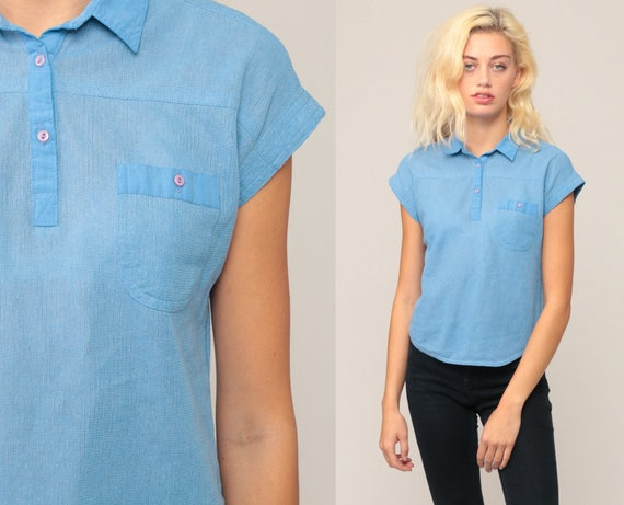 Polo Shirt 80s Shirt Blue Shirt Semi-Sheer Top Cap Sleeve Shirt Retro Half Button Up Polo Collared Vintage 1980s Small Medium