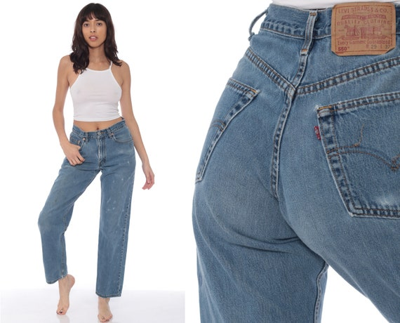 Levis Mom Jeans 28 -- Relaxed High Waist Jeans 90s Jeans Blue Jeans Levi 80s High Waist Denim Pants 550 Vintage Hipster Small 6 28 x 32