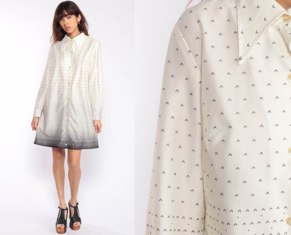 Button Up Dress 70s Shirtdress Mini Geometric Print Shift Dress Op Art Boho Long Sleeve Vintage Off-White Minidress Hippie Large