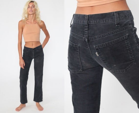 Levis Pants Corduroy Pants Grey Pants 80s Levi Mid Rise Waist Pants Vintage Straight Leg Trousers Hipster Extra Small xs 0