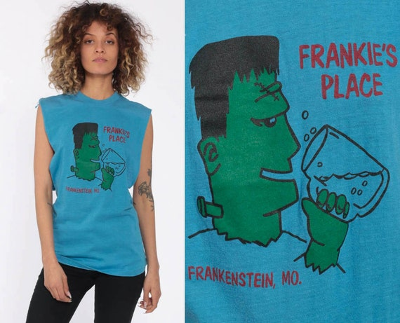 Frankie's Place Bar Shirt Frankenstein T Shirt Missouri Graphic Tank Top 80s Low Armhole Vintage Drinking Tee 1980s Party Shirt Medium