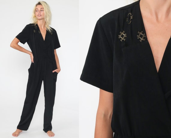 Black Jumpsuit V Neck Wrap Jumpsuit Short Sleeve Pocket Playsuit Straight Leg High Waisted Pants 90s Vintage Pantsuit Medium