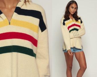 Wool Cardigan Sweater Hoodie RALPH LAUREN 90s Hudson Bay Style Blanket Striped Zip Up 1990s Bohemian Hooded Vintage Boho Large