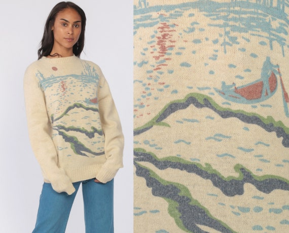 70s Nature Scene Sweater Boho Tree Boat Wool Sweater Novelty Print Cream Vintage Bohemian Knit Sweater Novelty Pullover Jumper Medium Tall