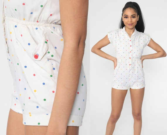 80s Romper Playsuit Shorts Polka Dot PRINT One Piece Jumpsuit 1980s Button Up Romper eWhite Vintage 1980s High Waist Extra Small xs Petite