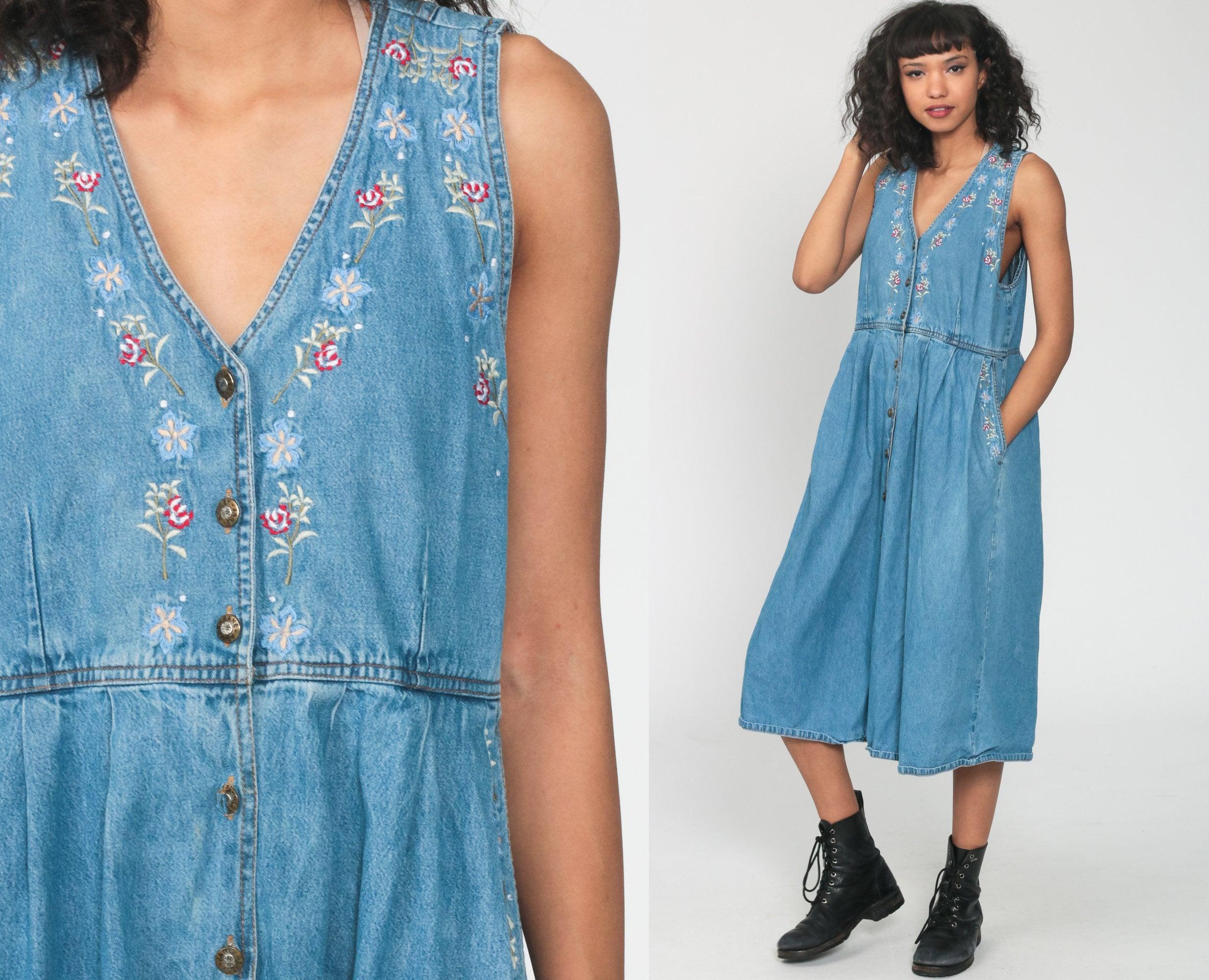 fullLong sleevePrairieCottagecore. 1990s Denim Floral Daisy Embroidered DressShirt dressCottonLong