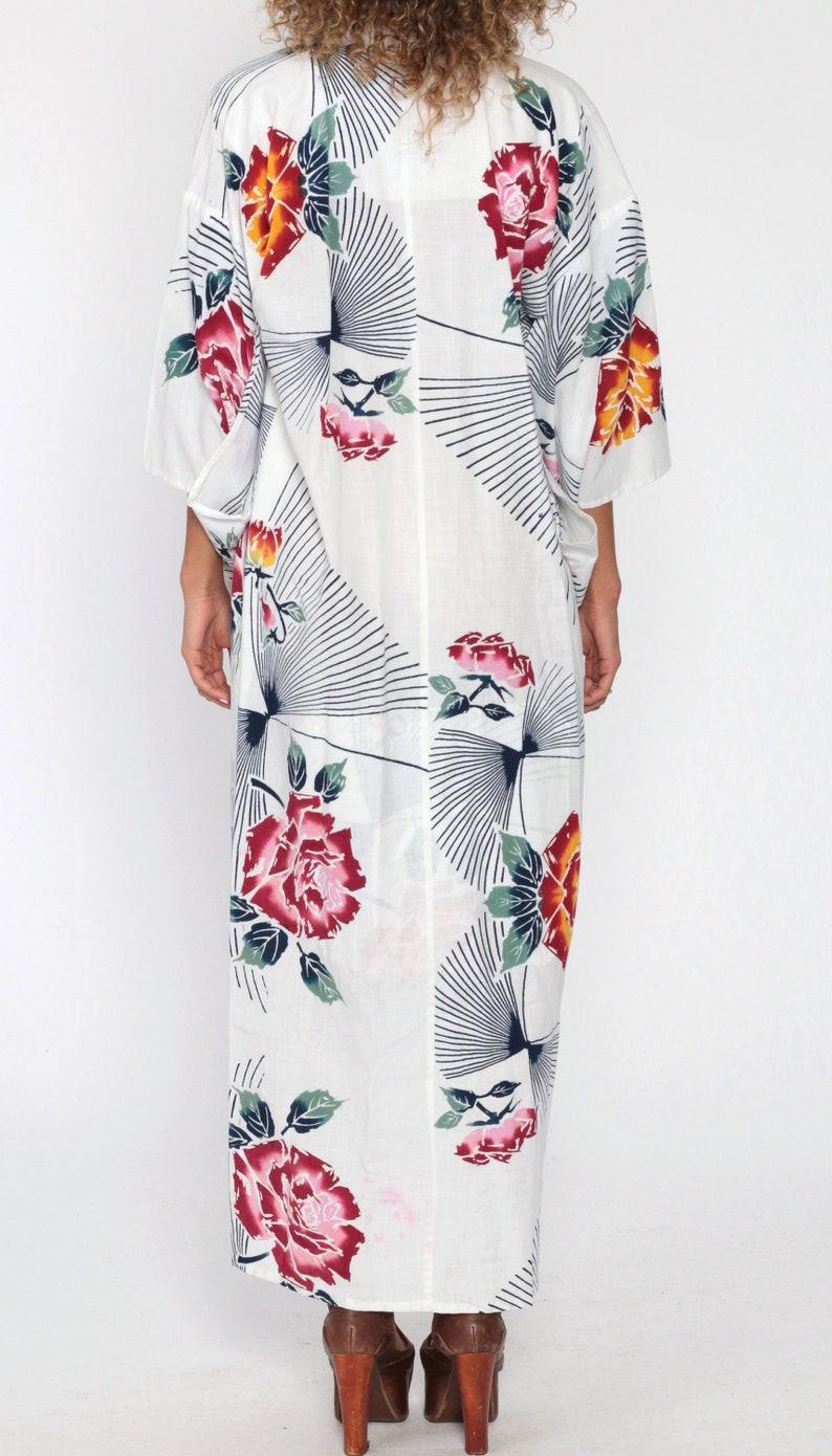 Floral Kimono Robe Cotton Dressing Gown Maxi Robe White Sleeve Bohemian Lingerie Jacket Long Wrap Vintage Boho Hippie Small Medium Large