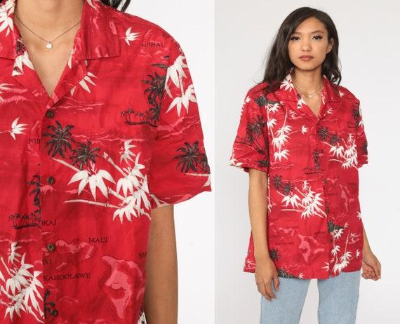Hawaii Women Shirt 80s Button Up Hawaiian Top PALM TREES Print Cotton Red Black Beige Jungle Short Sleeve Surfer Shirt size Small S
