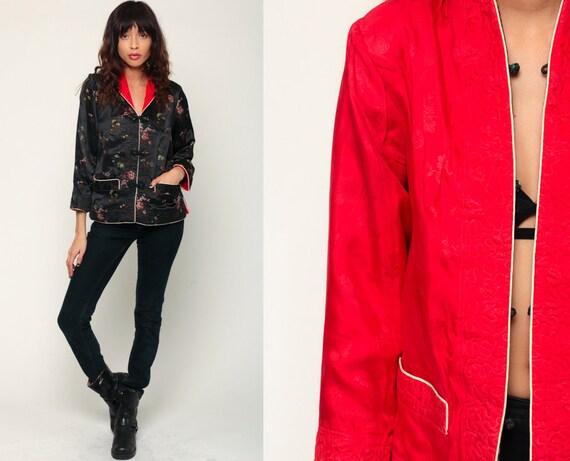Chinese Jacket Asian Black Satin Jacket REVERSIBLE Red Embroidered Floral Boho Mandarin Vintage Bohemian Small