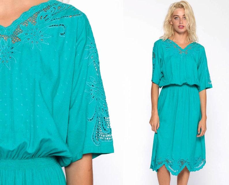 c1974d61b1d Cut Out Bali Dress 70s Boho Mesh Midi Embroidered Floral