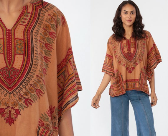 Dashiki Top African Shirt Tunic Top Ethnic BELL SLEEVE Blouse Hippie Brown Boho Cotton Bohemian Vintage Pocket Small