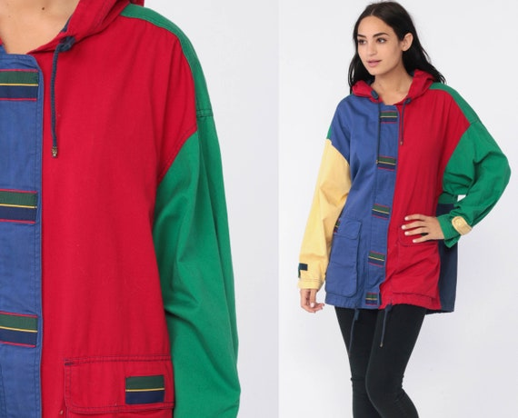 Color Block Jacket 80s Hoodie Windbreaker Hooded Jacket Anorak Hood White Retro 1980s Vintage Primary Color Blue Red Green Medium
